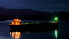 Freighter Ship Moored at Night Stock Footage