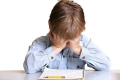 Can't Do It - frustrated school boy Stock Photos