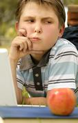 Student school boy difficult problem - stock photo