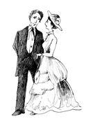 Stock Illustration of vintage couple