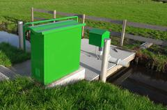 Drainage pumping station. - stock photo