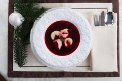 Borsch with dumplings - stock photo
