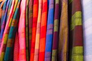 Stock Photo of colourful silk in market , thailand