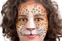 Face painting, leopard Stock Photos
