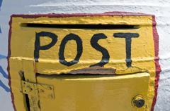 Mailbox in Kamari. - stock photo
