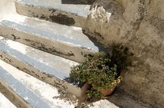 Stone stairs in Kamari. Stock Photos