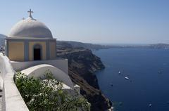 Church in Thira on. Stock Photos