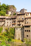Stock Photo of medieval Catalan village in Pyrenees. Rupit