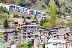 Residence district at Pyrenees Stock Photos