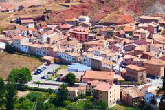 Spanish  town in sunny day. Albarracin Stock Photos