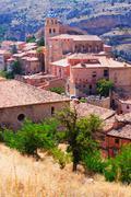 Spanish town from mount. Albarracin Stock Photos