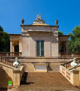 Neoclassical pavilion at Labyrinth Park of Horta Stock Photos