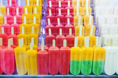Fruits ice cream on  counter - stock photo