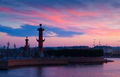 Rostral columns in summer morning Stock Photos