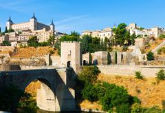 Puente de Alcantara in Toledo.  Spain Stock Photos