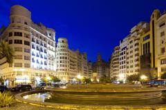 Placa del Ajuntament in summer evening. Valencia - stock photo