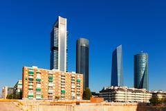 View of Madrid with Cuatro Torres Business Area - stock photo