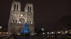 Paris - France - Night - Notre Dame Cathedral - HD Stock Footage