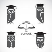 Vector image of an owl with college hat and book isolated Stock Illustration