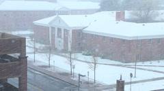 Snow blizzard storm over University School Campus Stock Footage
