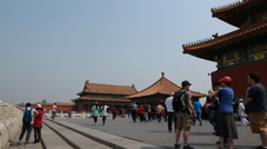 people visiting the amazing forbidden city courtyard in beijing china - stock footage