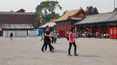 Tourists going to the forbidden city in beijing Stock Footage