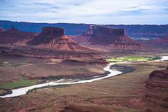 colorado river professor valley overlook utah - stock photo