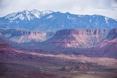 dome plateau la sal mountains professor valley overlook utah - stock photo