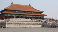 Tourists in amazing forbidden city palace courtyard beijing china Stock Footage