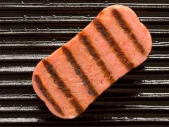 spam on a grill - stock photo