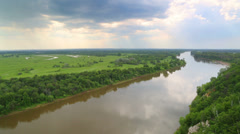 Stock Video Footage of timelapse landscape with river - view from height