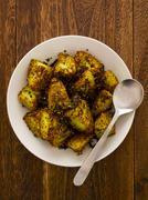 crusty baked potatoes - stock photo