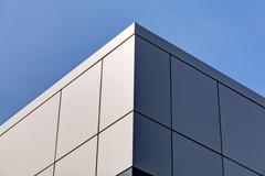 aluminum facade and alubond panels - stock photo