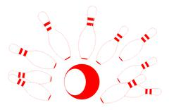 red bowling pins and ball - stock illustration