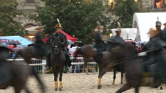 Horses and riders at the show Stock Footage