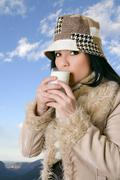 Country Goodness, female drinking milk Stock Photos
