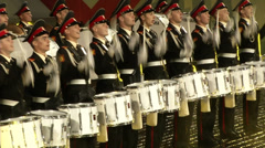 Drummers march Red Square at night Stock Footage