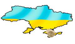 Coins on ukrainian map on crimea peninsula Stock Photos