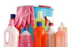 bucket and detergents - stock photo