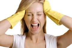 Female screams No more work - stock photo