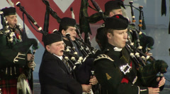 Scottish bagpipe band, the young musician Stock Footage
