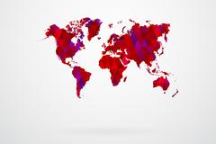 Purple Mosaic Tiles World Map - stock illustration