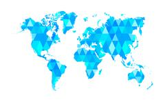 Blue Mosaic Tiles World Map Isolated - stock illustration