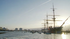 Historic HMS Warrior in Portsmouth - wide shot - stock footage