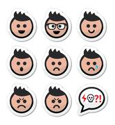 Man or boy with spiky hair faces icons set Stock Illustration
