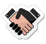 Agreement handshake icon - label Stock Illustration