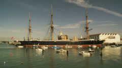 HMS Warrior in Portsmouth (Contrasty) Stock Footage