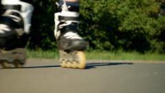 Roller blades closeup, Ultra HD 4K video Stock Footage