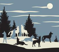 Wolf pack Stock Illustration