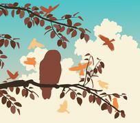 songbirds mobbing owl - stock illustration
